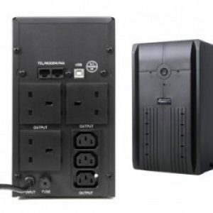 UPS1000 | Powercool Smart UPS 1000VA 3 x 3 Pin Mains Plug, 3 x IEC, RJ45 x 2, USB LED Display w/ management software